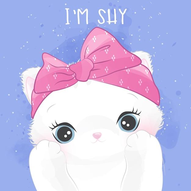 Retrato pequeno bonito do gatinho com expressão tímida Vetor Premium