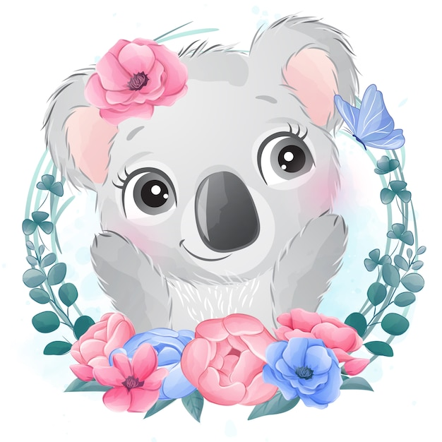 Retrato pequeno bonito do urso de coala com floral Vetor Premium