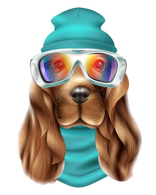 Retrato realista de terno de esqui de cão spaniel Vetor grátis