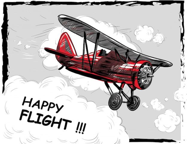 Retro avião voando nas nuvens Vetor Premium