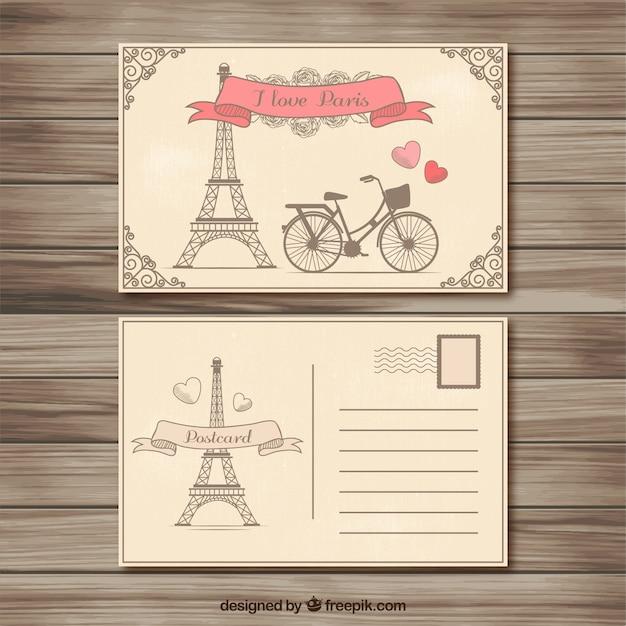 Retro cartão postal paris Vetor grátis