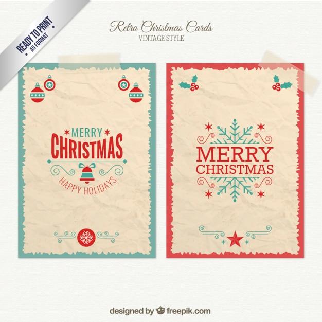 Retro cartões de natal pacote Vetor grátis