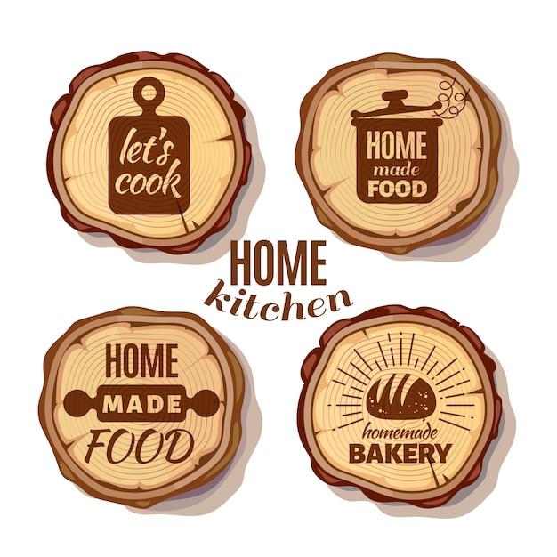 Retro cozinha cozinhar em casa e emblemas artesanais em viu cortar troncos de árvores Vetor Premium