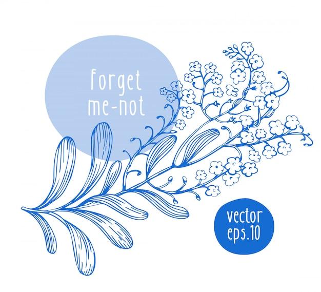 Retro desenhada de mão esqueceu-me não com flores Vetor Premium