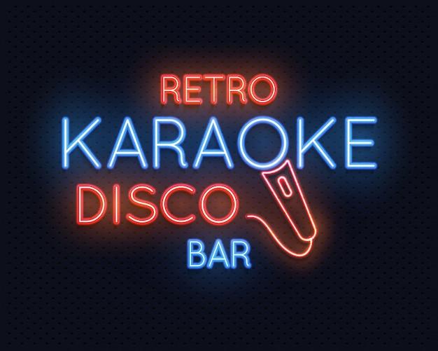 Retro, discoteca, karaoke, barzinhos, luz néon, sinal Vetor Premium