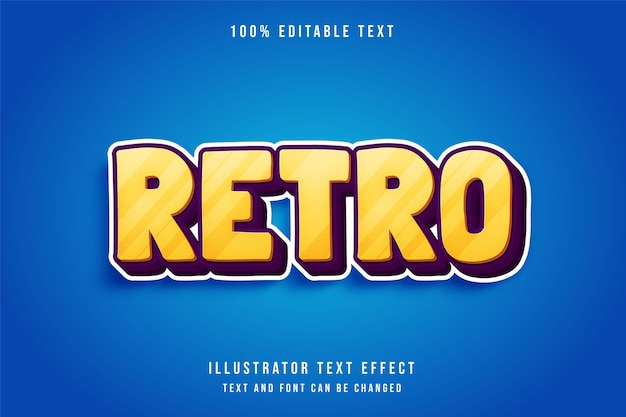 Retro, efeito de texto editável em 3d, gradação amarela e efeito laranja roxo estilo Vetor Premium