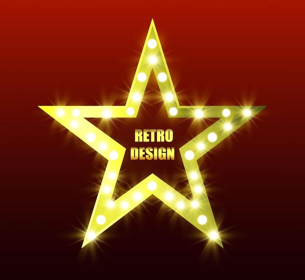 Retro-estrela. estrela brilhante de cinco pontas. estrela dourada. estrela com lanternas. Vetor Premium