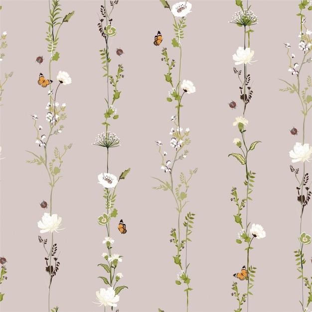 Retro listra vertical linha jardim flor botânica sem costura padrão no design elegante ilustração vetorial para moda, tecido, web, papel de parede e todas as impressões Vetor Premium