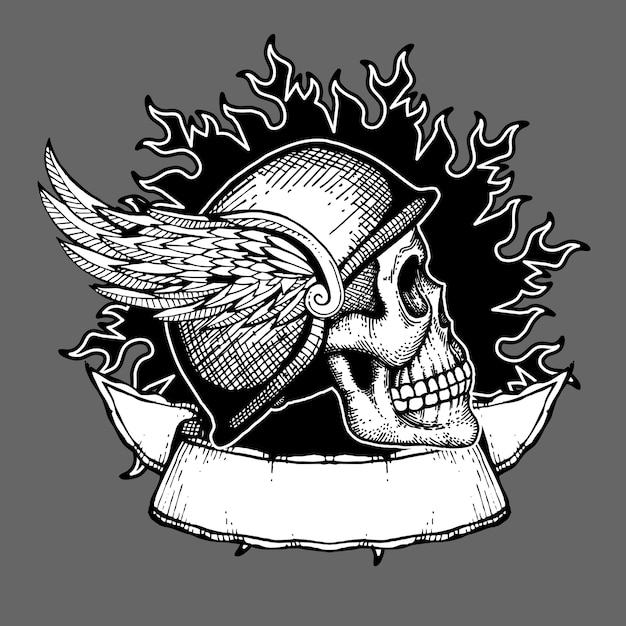 Retro motorcycle vector t shirt design motociclista crânio emblema Vetor Premium