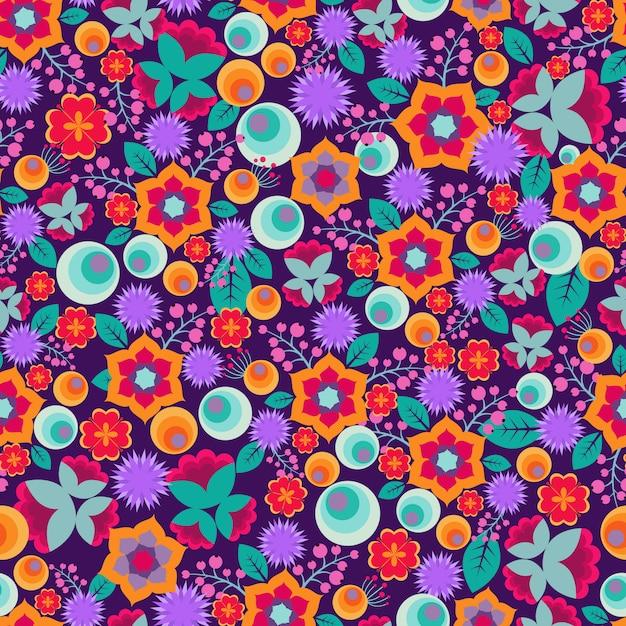 Retro padrão sem emenda de impressão floral abstrato vector com flores simples bonitos e brilhantes Vetor Premium