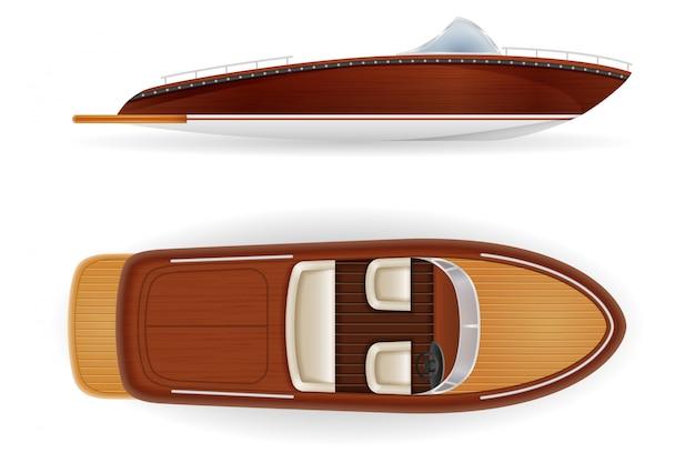 Retro velho do vintage do barco de motor feito de madeira. Vetor Premium
