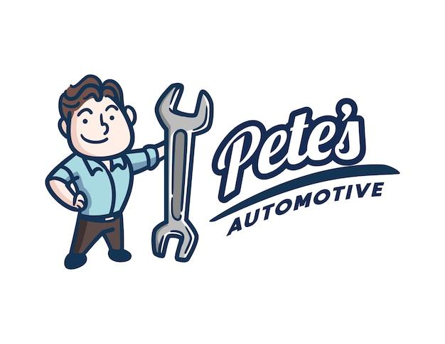 Retro vintage mechanic ou reparador logotipo Vetor Premium