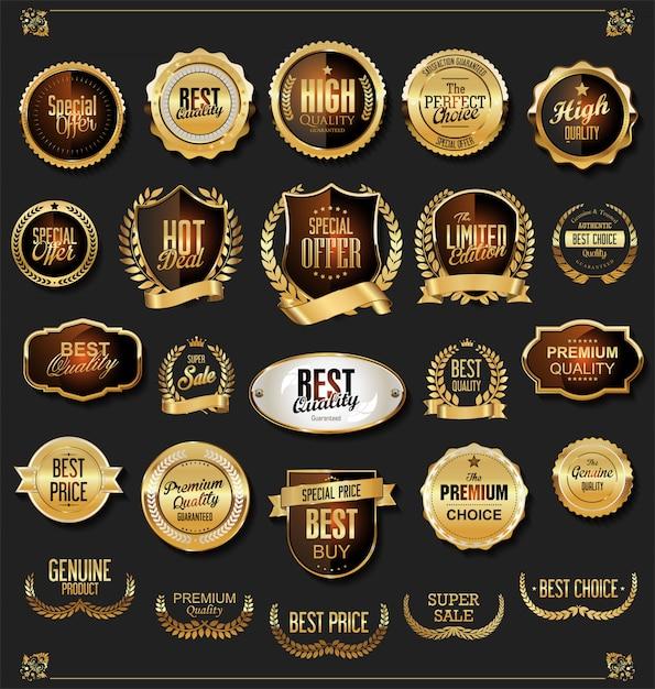 Retro vintage preto e ouro emblemas e etiquetas coleção Vetor Premium