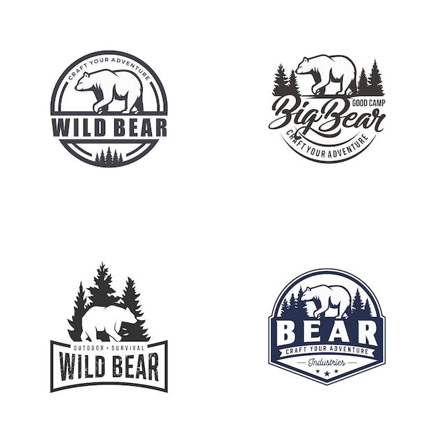Retro vintage urso logo vector conjunto de modelo Vetor Premium
