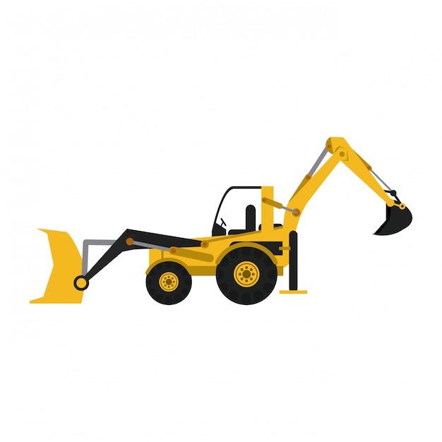 Retroescavadora de construção Vetor Premium