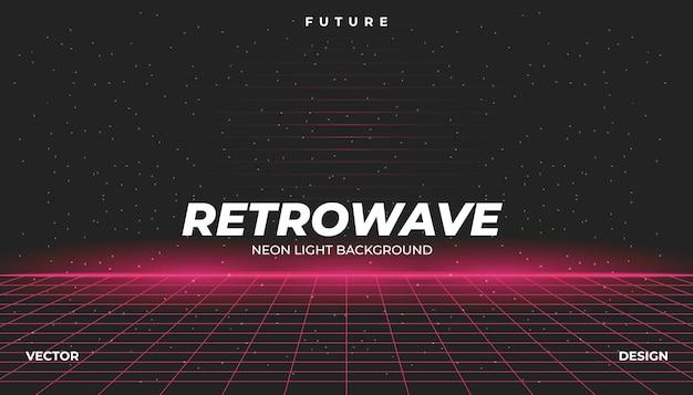 Retrowave cyber neon background landscape 80s styled. Vetor Premium