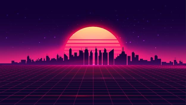 Retrowave futurista retrô synthwave estilo paisagem urbana de noite com pôr do sol no fundo. Vetor Premium