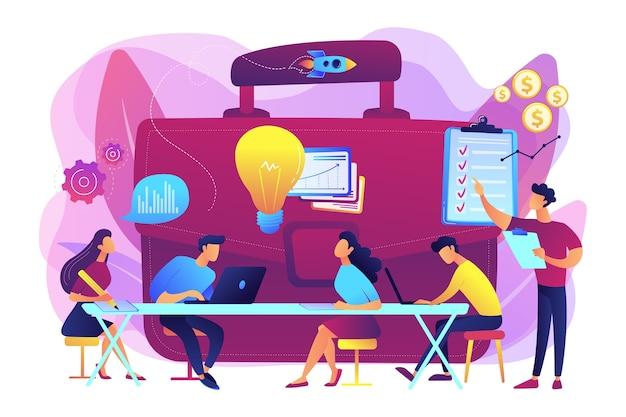 Reunião de colegas. brainstorming da equipe. treinamento corporativo. briefing de negócios, discussão de tarefa de trabalho em equipe, conceito de comunicação de estratégia de negócios. Vetor grátis
