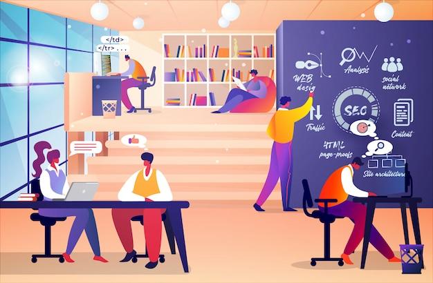 Reunião de desenvolvedores de designers de sites e programadores Vetor Premium