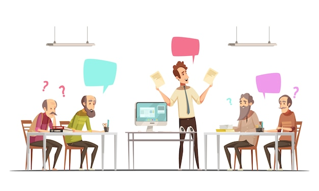 Reunião de grupo de cidadãos idosos cartaz retrô dos desenhos animados de oportunidades sociais recreativas e educacionais para pessoas idosas vector illustration Vetor grátis