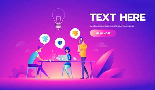 Reunião de negócios e brainstorming Vetor Premium