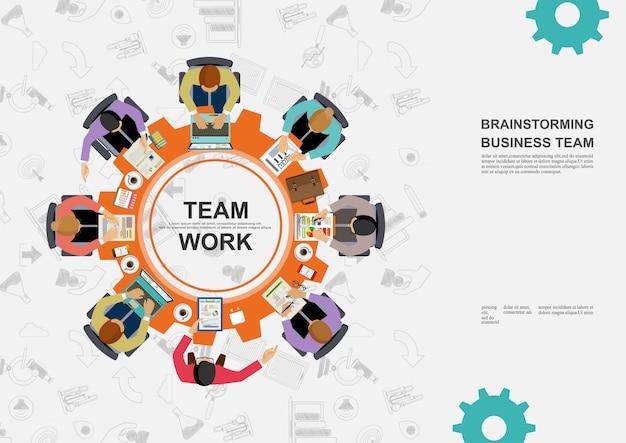 Reunião de negócios e brainstormming. Vetor Premium