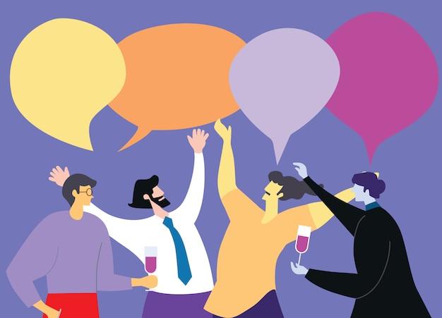 Reunião de negócios e discussão do conceito de projeto das ilustrações com trabalhos de equipa. Vetor Premium