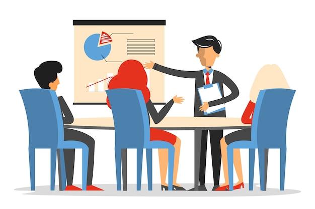 Reunião de negócios na sala de conferências isolada. homem faz apresentação no escritório. Vetor Premium