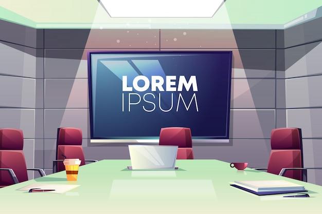 Reunião de negócios ou ilustração de interiores cartoon sala de conferências com poltronas confortáveis Vetor grátis