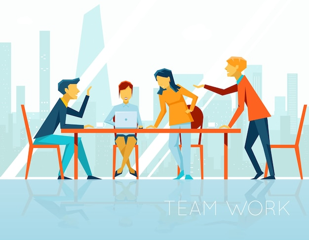 Reunião de negócios. pessoas conversando e trabalhando no escritório. pausa para o café, empresária e empresário, ilustração vetorial Vetor grátis