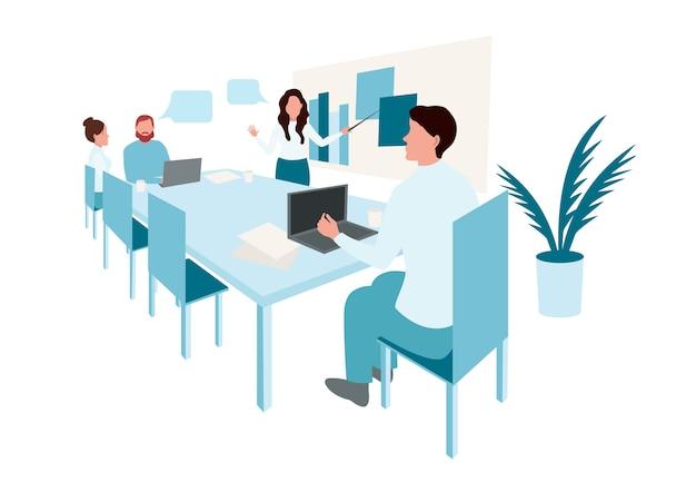Reunião de negócios. pessoas na conferência de apresentação. empresário no infográfico de estratégia de projeto. Vetor Premium