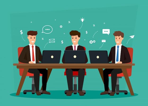 Reunião de personagens de negócios. discussão em equipe criativa no local de trabalho. brainstorming e discussão de idéias. Vetor Premium