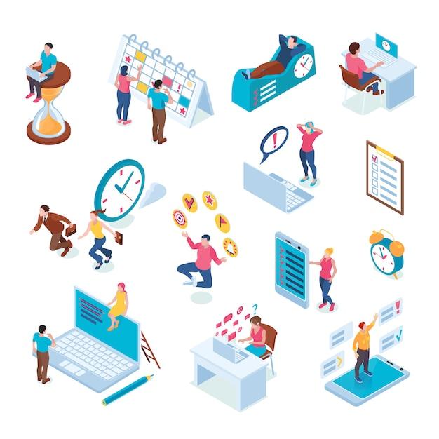 Reunião de prazo de gerenciamento de tempo, estratégia, planejamento, programação, cooperação, multitarefa, produtividade, isométrica, símbolos, ícones, jogo, isolado Vetor grátis