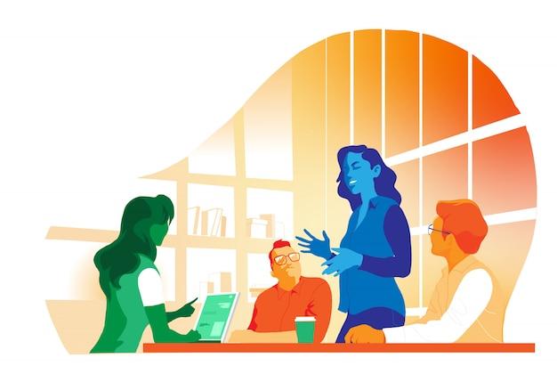 Reunião e trabalho em equipe Vetor Premium