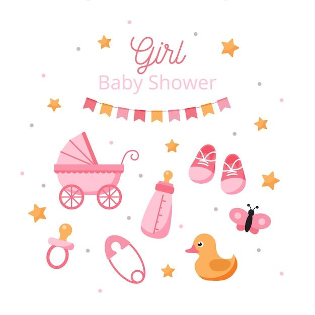 Revelação do sexo do bebê para menina Vetor Premium