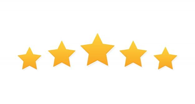 Revisão de classificação de produto de cinco estrelas do cliente Vetor Premium