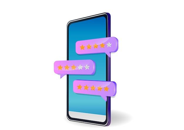 Revisão, feedback, discurso de bolha de classificação no smartphone. Vetor Premium
