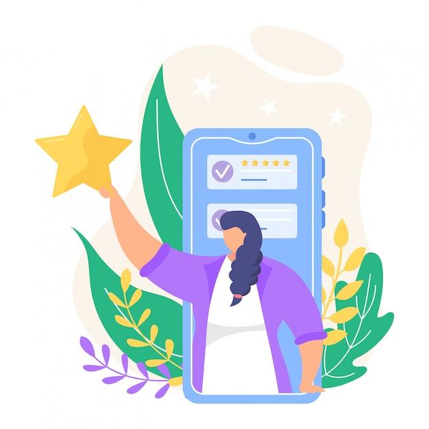 Revise a ilustração do feedback. pessoas pequenas dos desenhos animados, revendo a classificação on-line nos ícones de aplicativos do smartphone ou computador isolados no branco Vetor Premium