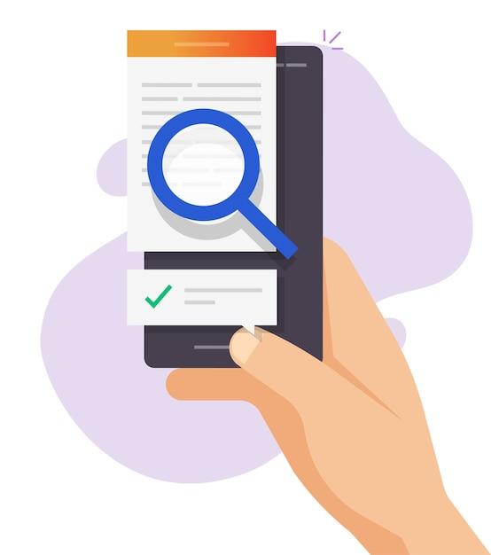 Revise o conteúdo de texto especializado online, análise de verificação de arquivo de documento digital, análise de inspeção de artigo Vetor Premium