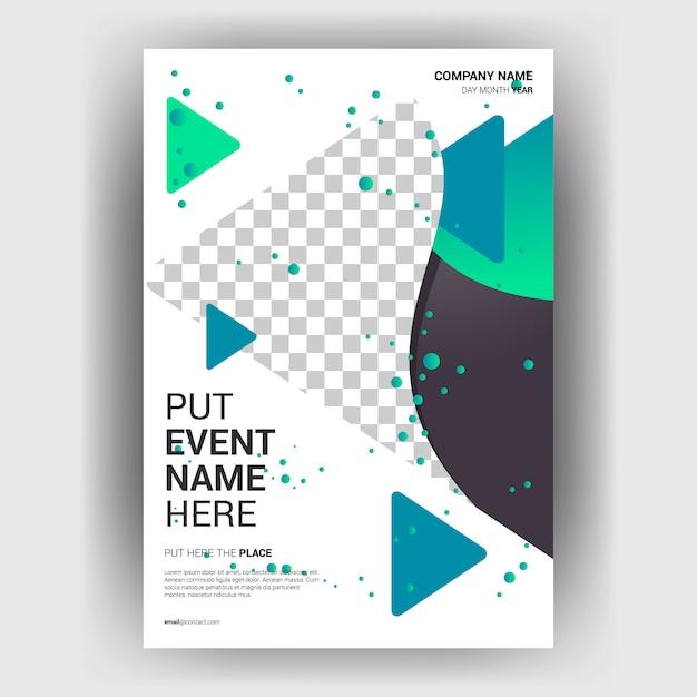 Revista de negócios brochura com conceito geométrico de layout Vetor Premium