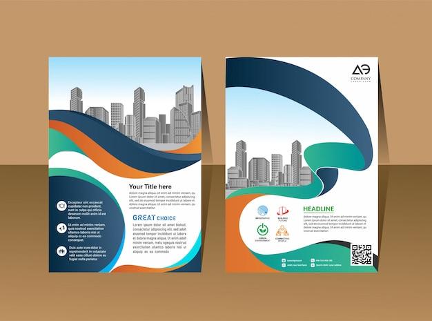 Revista de perfil de empresa cartaz relatório anual & capa de livreto Vetor Premium