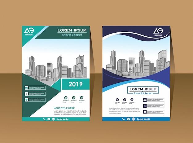 Revista de perfil de empresa modelo de folheto de negócios Vetor Premium