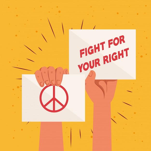 Revolução, proteste com as mãos levantadas para lutar pelo seu direito Vetor Premium