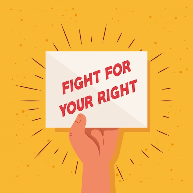 Revolução, proteste com o braço erguido para lutar pelo seu direito Vetor Premium