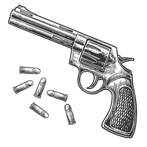 Revólver com balas. gravura ilustração vintage Vetor Premium