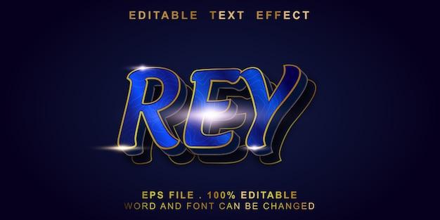 Rey efeito de texto editável Vetor Premium