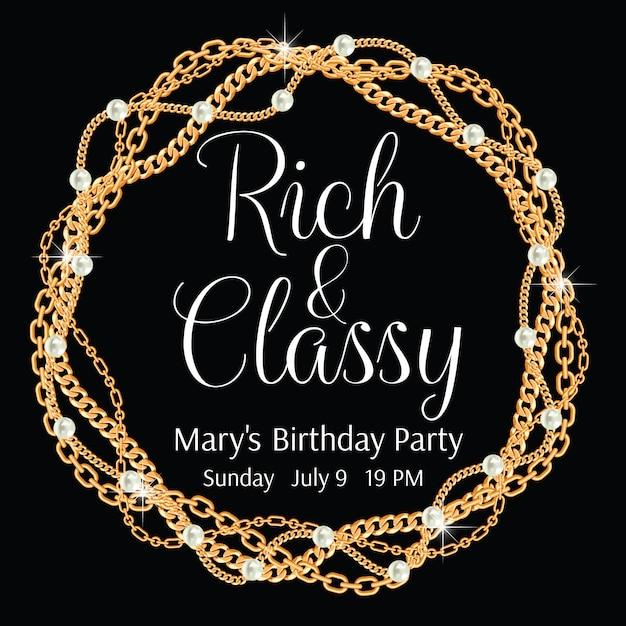 Rico e elegante. modelo de convite de festa glamourosa. moldura redonda feita com correntes douradas trançadas. Vetor Premium
