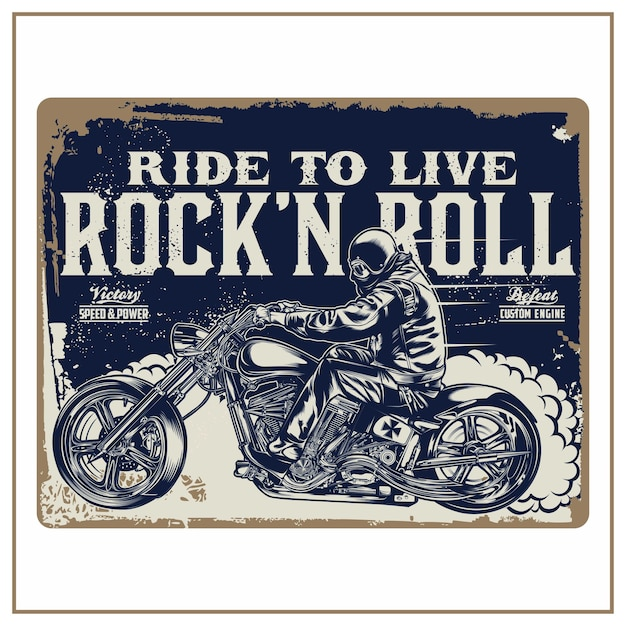 Ride to live rock 'n roll Vetor Premium