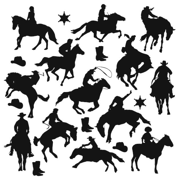Rider horse silhouette clip art Vetor Premium
