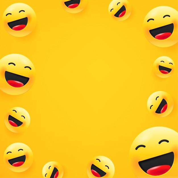 Rindo emoji. fundo de mensagem de mídia social. copie o espaço Vetor Premium